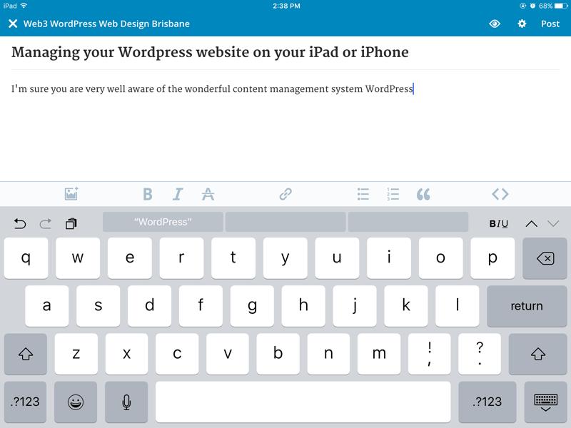 WordPress editor on iPad