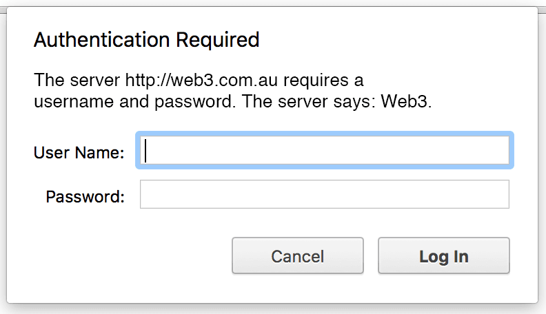 Website Authentication Required