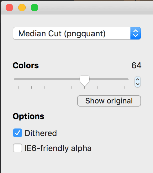 ImageAlpha compression settings