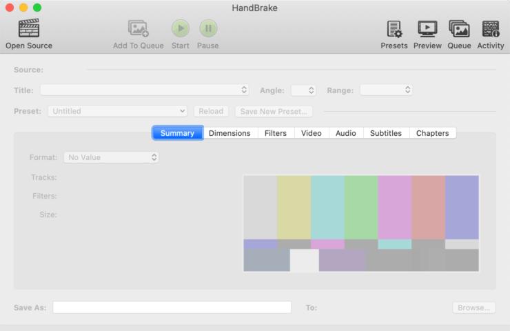 Screenshot of HandBrake Media Compression App