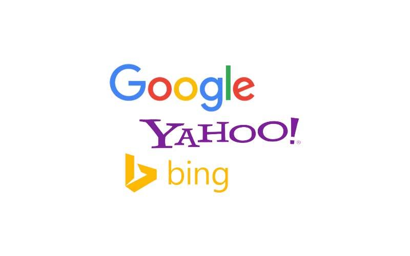 Google, Yahoo and Bing Search Engine Logos